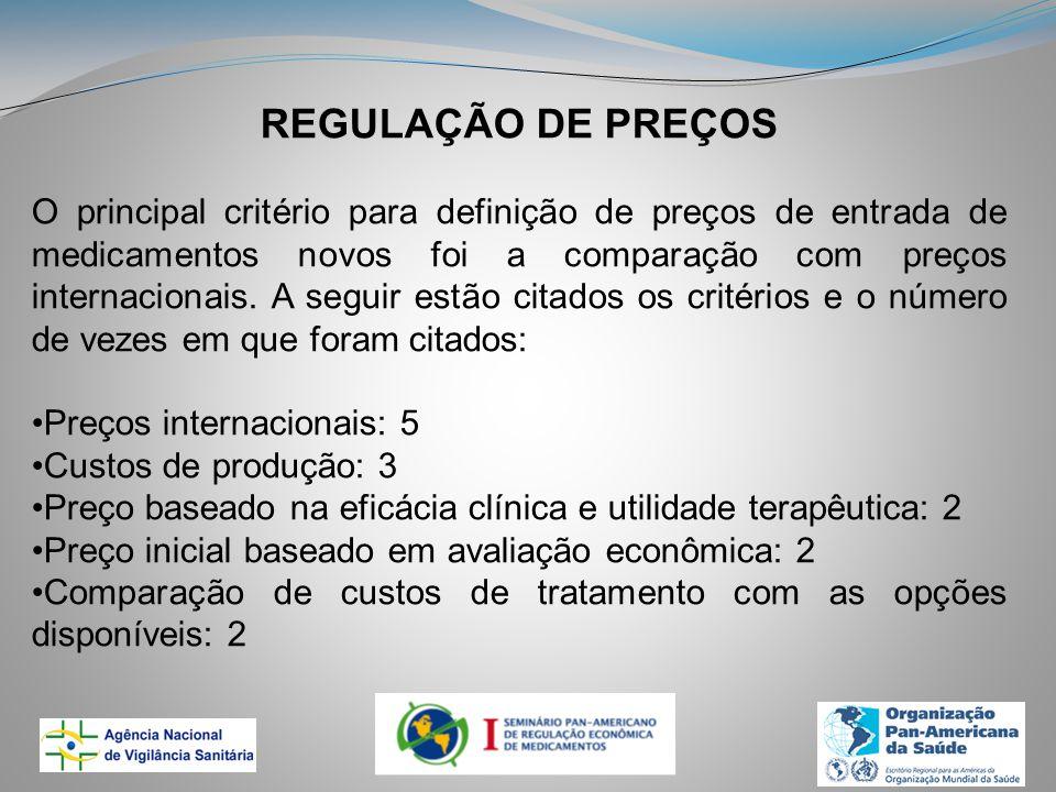 REGULAÇÃO DE PREÇOS O principal critério para definição de preços de entrada de medicamentos novos foi a comparação com preços internacionais.