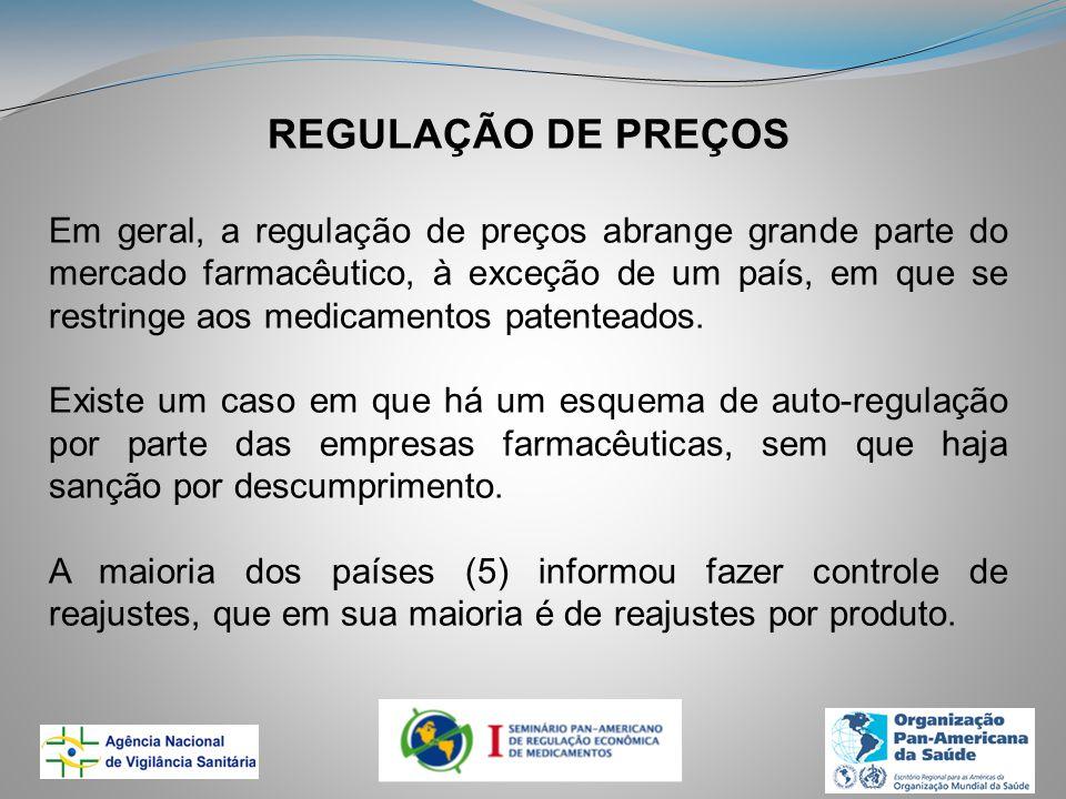 REGULAÇÃO DE PREÇOS Em geral, a regulação de preços abrange grande parte do mercado farmacêutico, à exceção de um país, em que se restringe aos medicamentos patenteados.