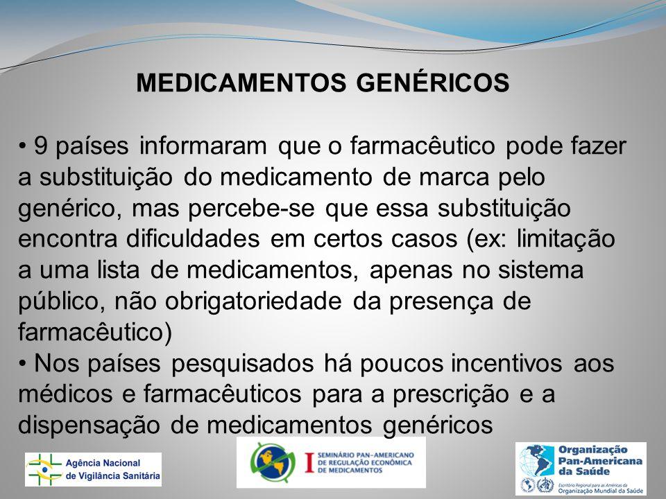 MEDICAMENTOS GENÉRICOS 9 países informaram que o farmacêutico pode fazer a substituição do medicamento de marca pelo genérico, mas percebe-se que essa substituição encontra dificuldades em certos casos (ex: limitação a uma lista de medicamentos, apenas no sistema público, não obrigatoriedade da presença de farmacêutico) Nos países pesquisados há poucos incentivos aos médicos e farmacêuticos para a prescrição e a dispensação de medicamentos genéricos