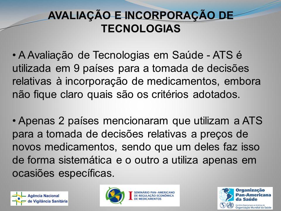 AVALIAÇÃO E INCORPORAÇÃO DE TECNOLOGIAS A Avaliação de Tecnologias em Saúde - ATS é utilizada em 9 países para a tomada de decisões relativas à incorporação de medicamentos, embora não fique claro quais são os critérios adotados.