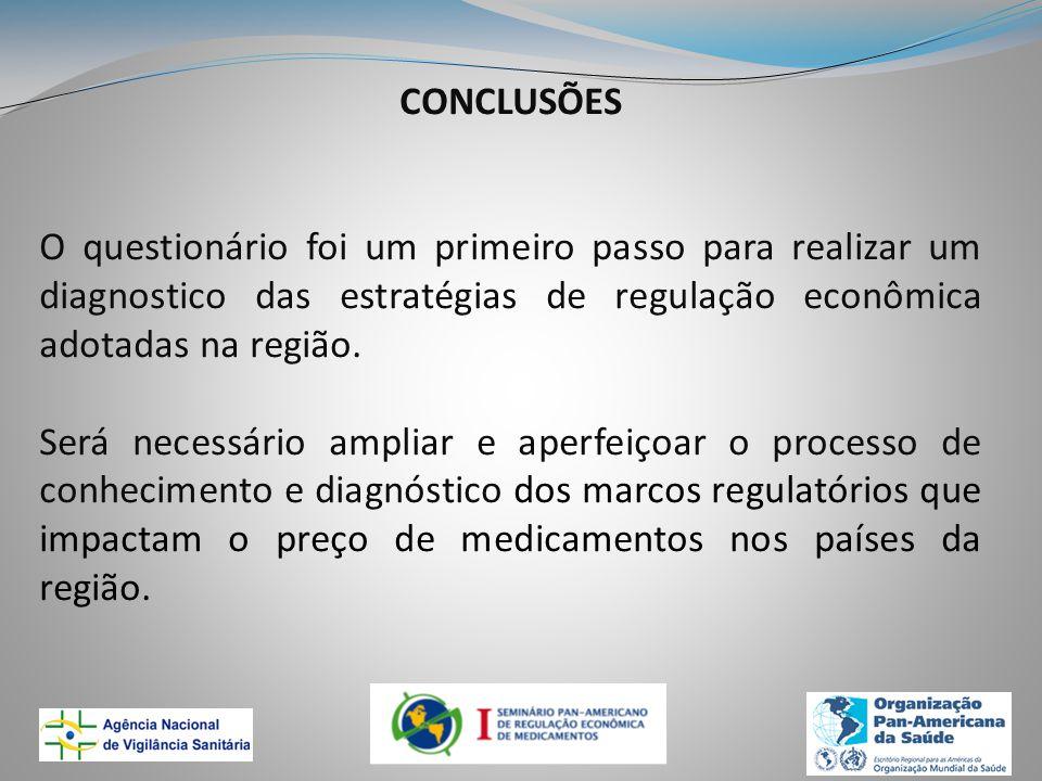 CONCLUSÕES O questionário foi um primeiro passo para realizar um diagnostico das estratégias de regulação econômica adotadas na região.