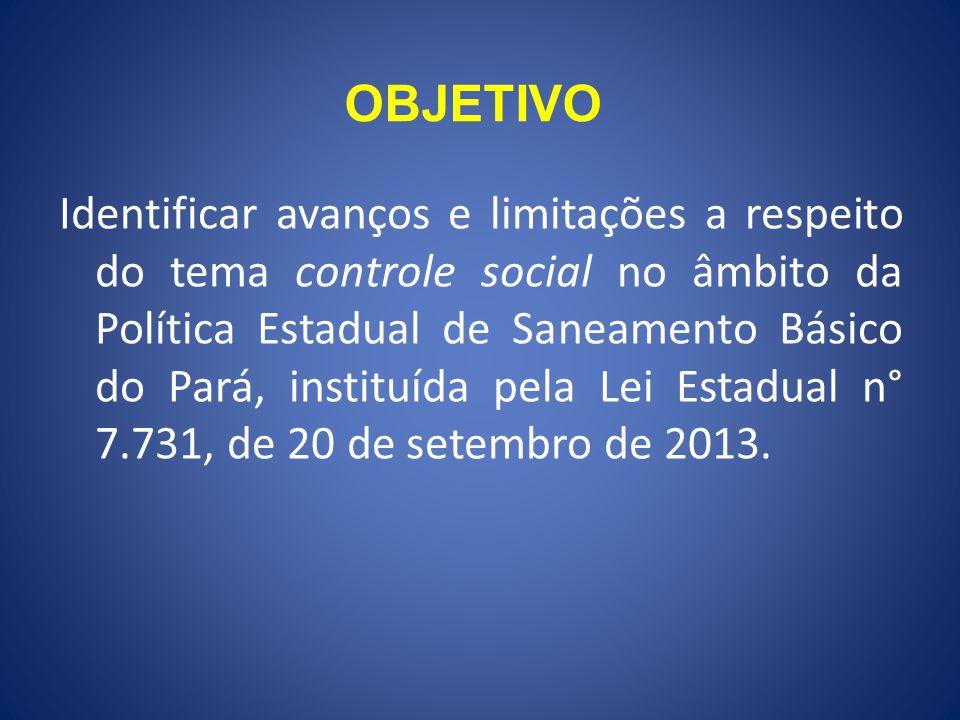 OBJETIVO Identificar avanços e limitações a respeito do tema controle social no âmbito da Política Estadual de Saneamento Básico do Pará, instituída pela Lei Estadual n° 7.731, de 20 de setembro de 2013.