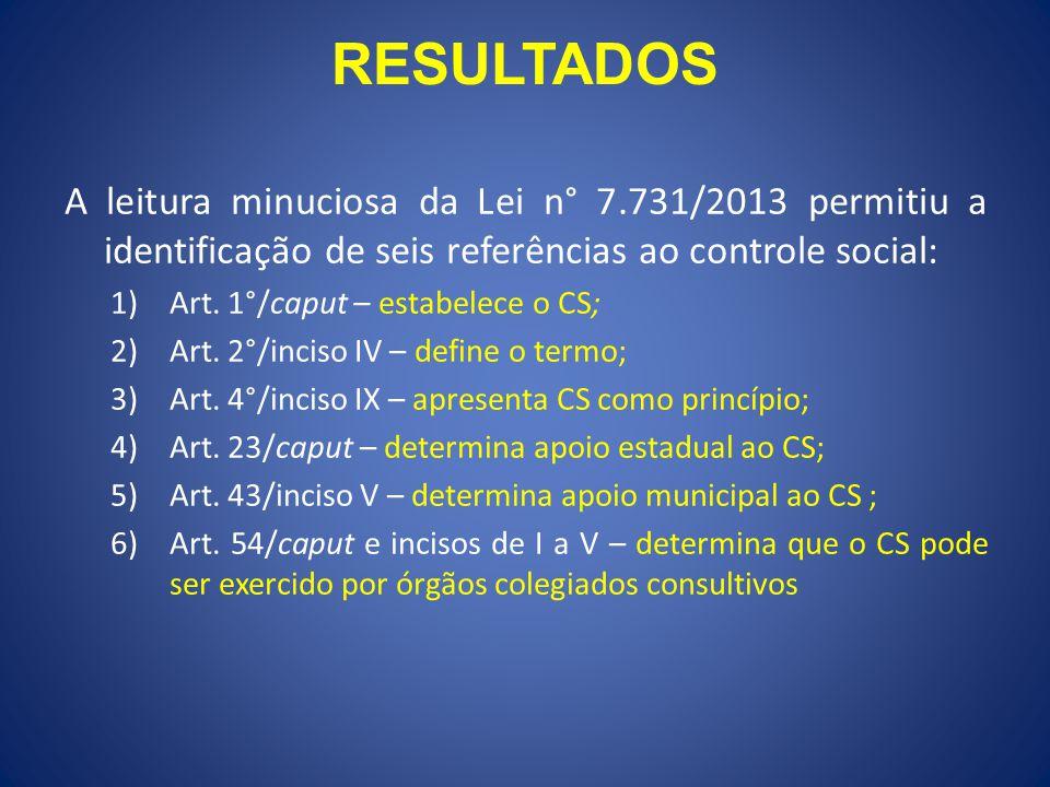 RESULTADOS A leitura minuciosa da Lei n° 7.731/2013 permitiu a identificação de seis referências ao controle social: 1)Art. 1°/caput – estabelece o CS