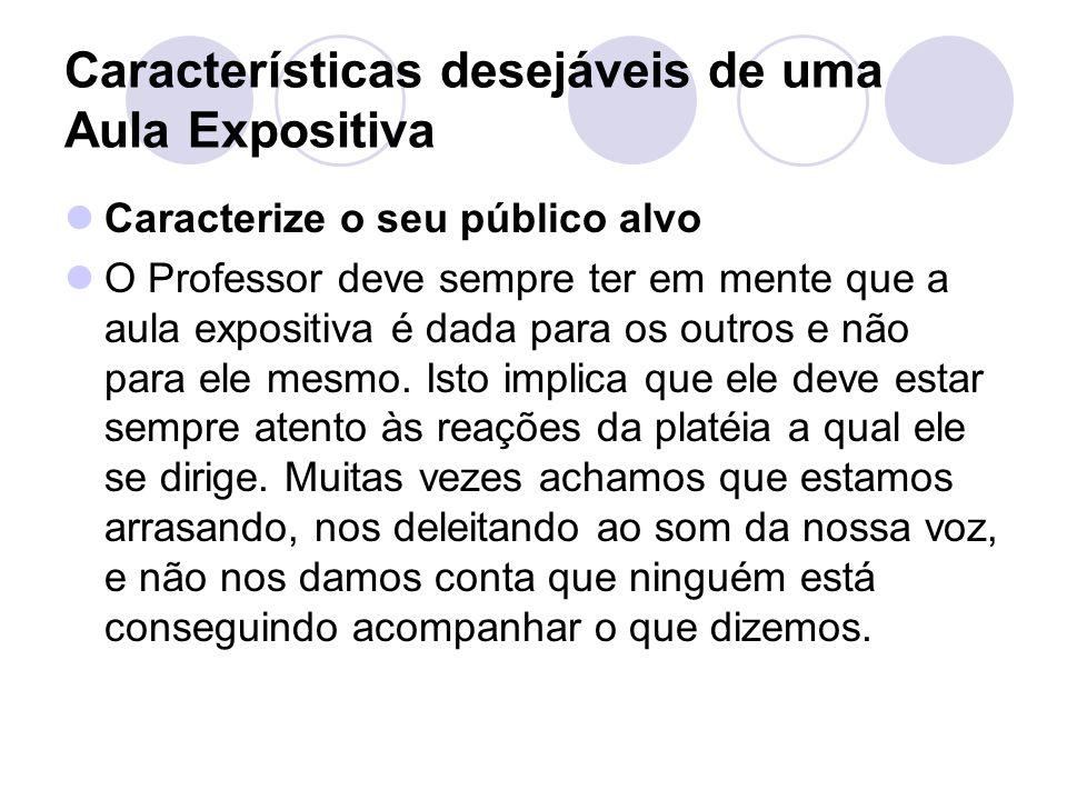 Características desejáveis de uma Aula Expositiva Caracterize o seu público alvo O Professor deve sempre ter em mente que a aula expositiva é dada par