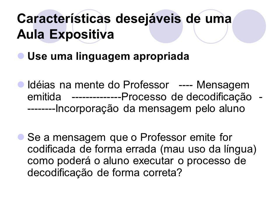 Características desejáveis de uma Aula Expositiva Use uma linguagem apropriada Idéias na mente do Professor ---- Mensagem emitida --------------Proces