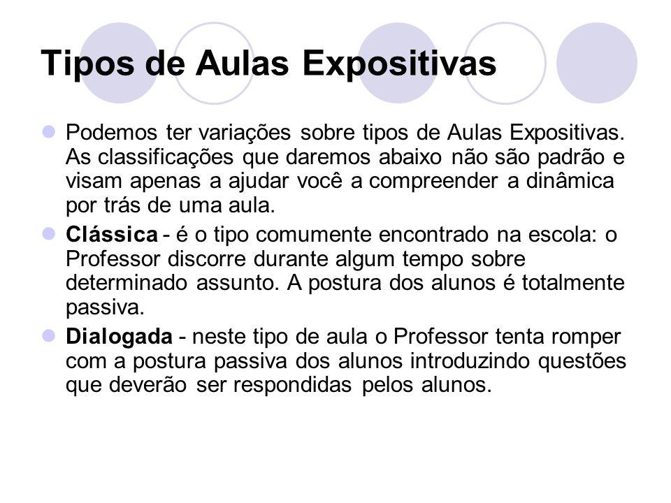 Tipos de Aulas Expositivas Podemos ter variações sobre tipos de Aulas Expositivas. As classificações que daremos abaixo não são padrão e visam apenas