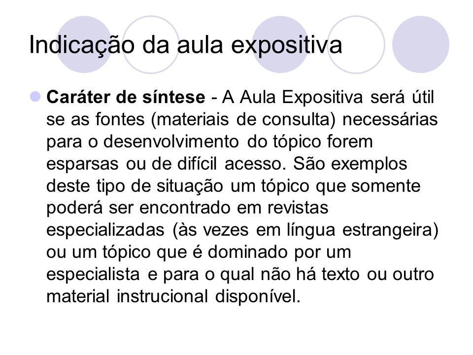 Indicação da aula expositiva Caráter de síntese - A Aula Expositiva será útil se as fontes (materiais de consulta) necessárias para o desenvolvimento