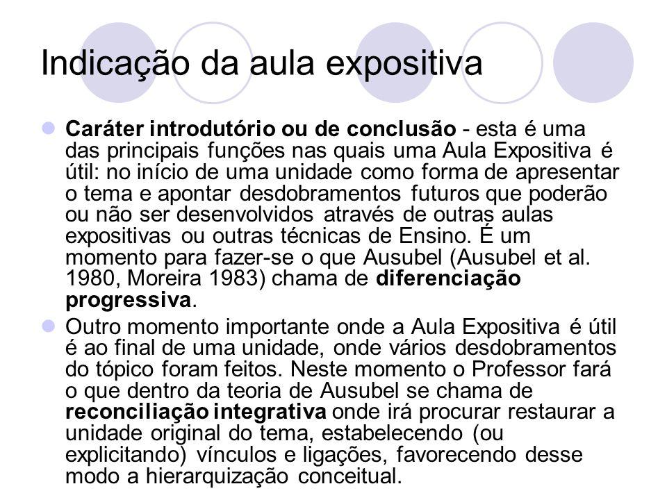 Indicação da aula expositiva Caráter introdutório ou de conclusão - esta é uma das principais funções nas quais uma Aula Expositiva é útil: no início
