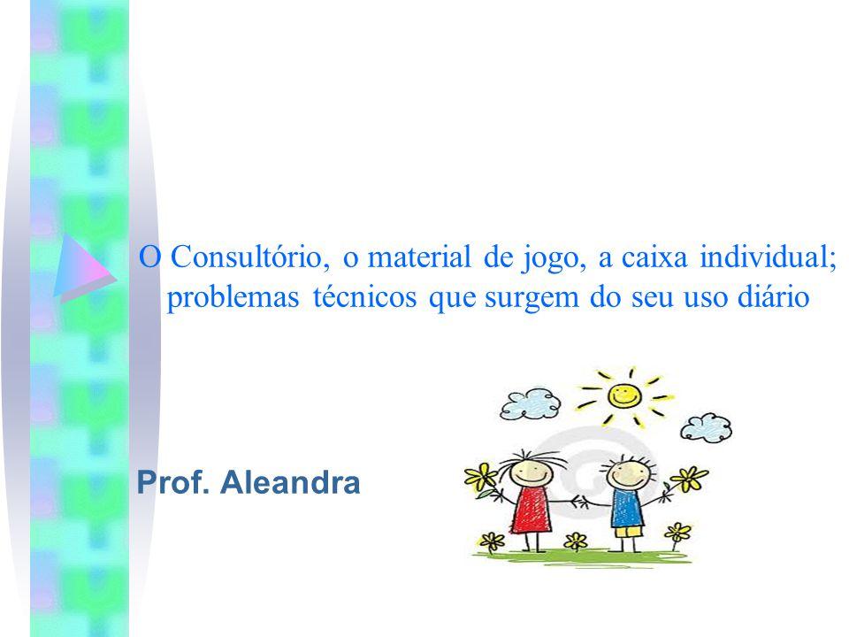 O Consultório, o material de jogo, a caixa individual; problemas técnicos que surgem do seu uso diário Prof.