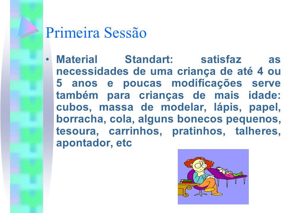 Primeira Sessão Material Standart: satisfaz as necessidades de uma criança de até 4 ou 5 anos e poucas modificações serve também para crianças de mais idade: cubos, massa de modelar, lápis, papel, borracha, cola, alguns bonecos pequenos, tesoura, carrinhos, pratinhos, talheres, apontador, etc