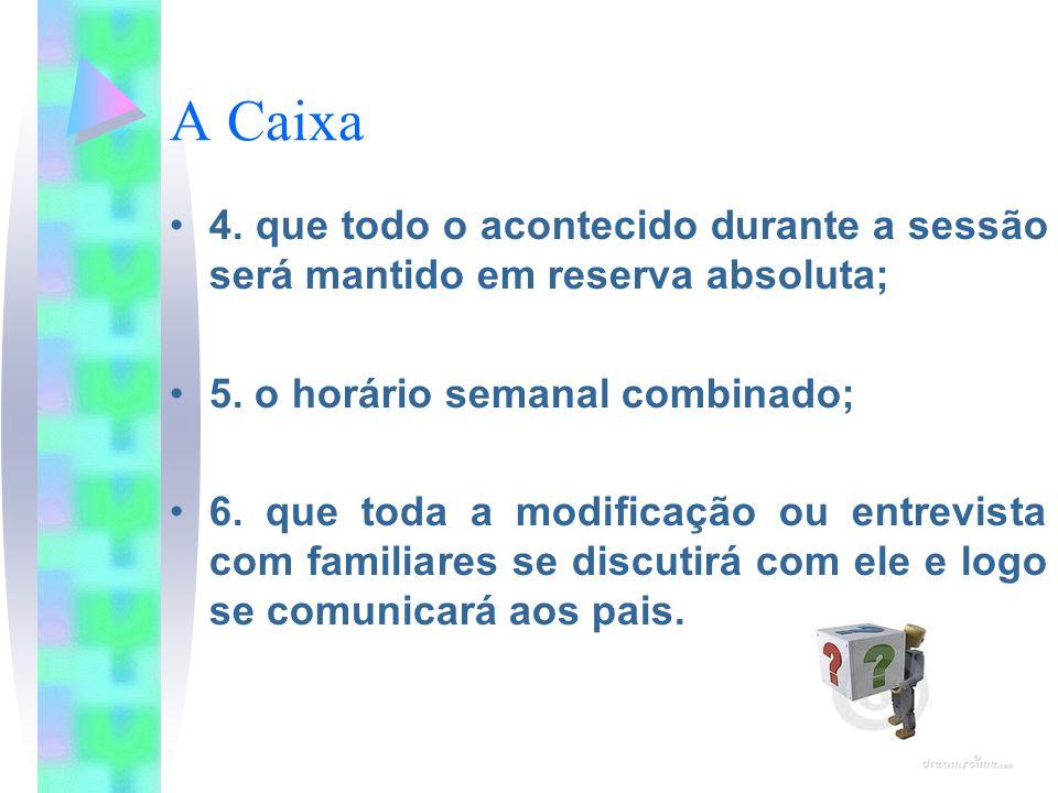A Caixa 4. que todo o acontecido durante a sessão será mantido em reserva absoluta; 5. o horário semanal combinado; 6. que toda a modificação ou entre