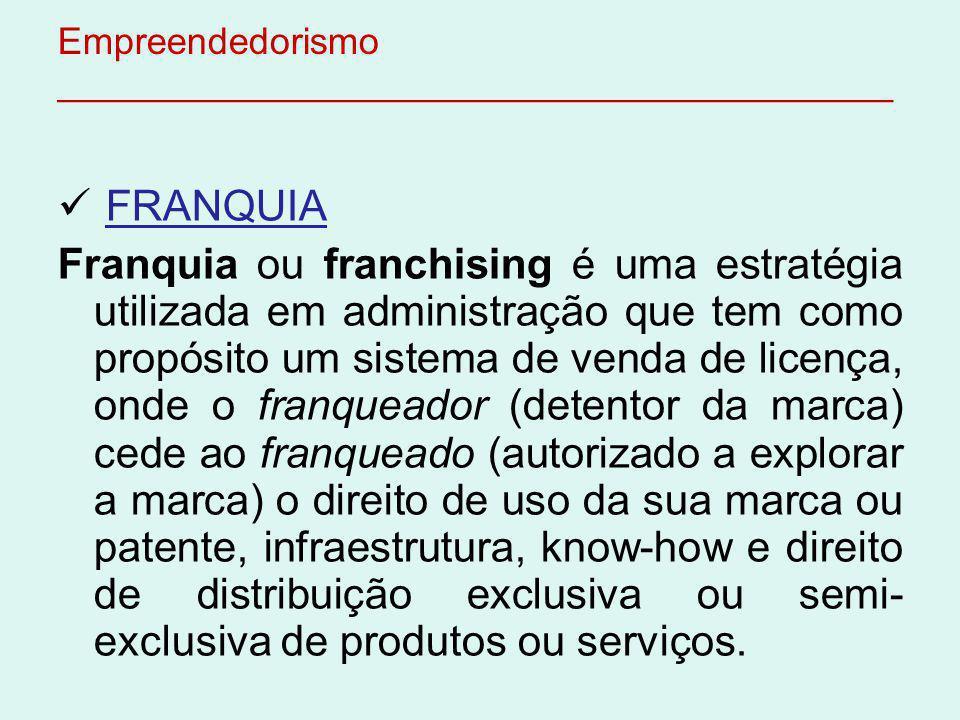 Empreendedorismo ________________________________________ FRANQUIA Franquia ou franchising é uma estratégia utilizada em administração que tem como pr