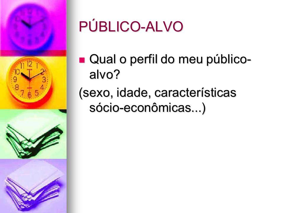 PÚBLICO-ALVO Qual o perfil do meu público- alvo? Qual o perfil do meu público- alvo? (sexo, idade, características sócio-econômicas...)