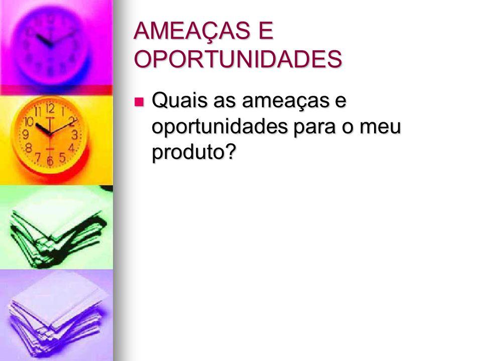AMEAÇAS E OPORTUNIDADES Quais as ameaças e oportunidades para o meu produto? Quais as ameaças e oportunidades para o meu produto?