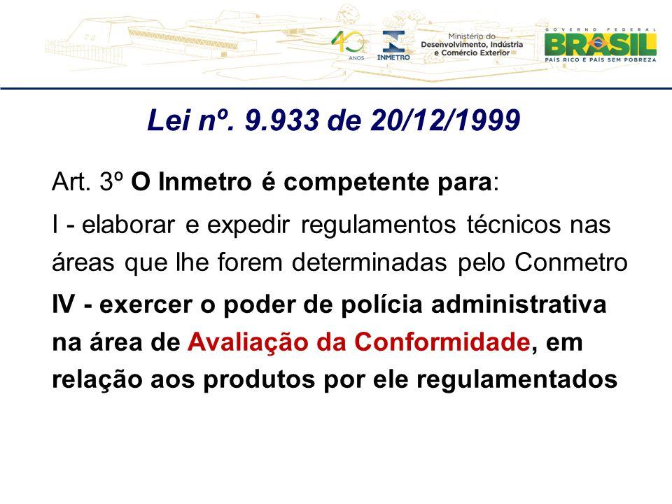 Art. 3º O Inmetro é competente para: I - elaborar e expedir regulamentos técnicos nas áreas que lhe forem determinadas pelo Conmetro IV - exercer o po