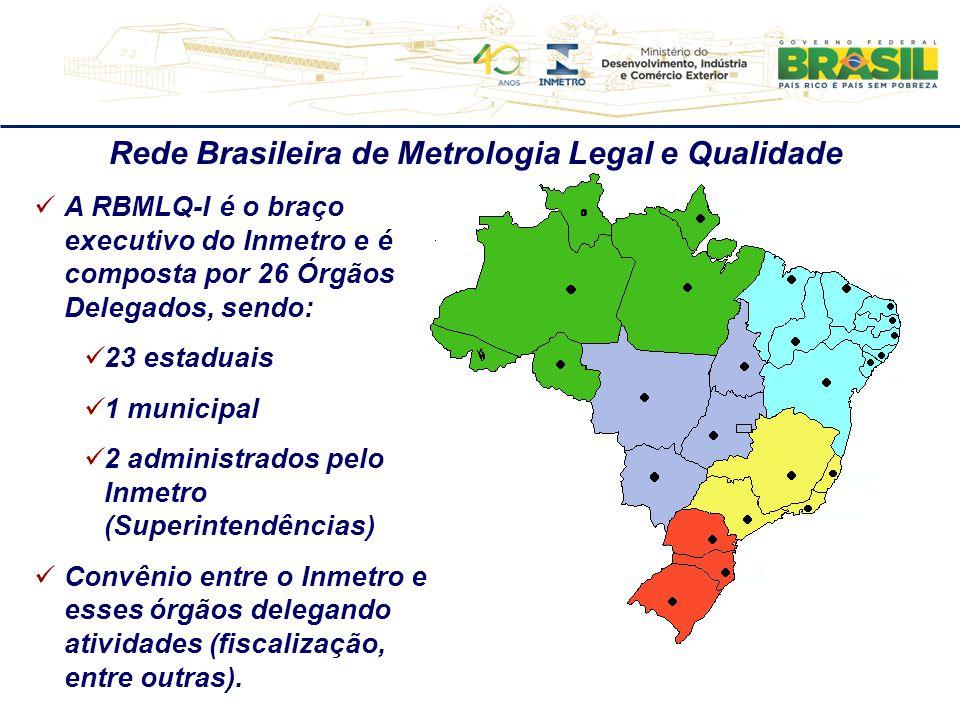 A RBMLQ-I é o braço executivo do Inmetro e é composta por 26 Órgãos Delegados, sendo: 23 estaduais 1 municipal 2 administrados pelo Inmetro (Superinte
