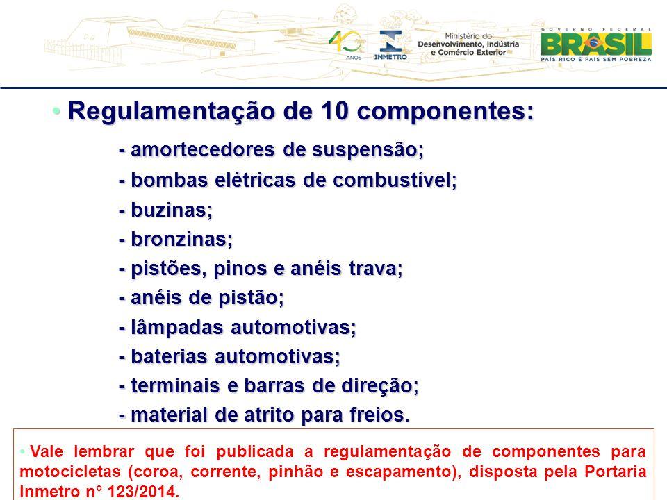 Regulamentação de 10 componentes: Regulamentação de 10 componentes: - amortecedores de suspensão; - bombas elétricas de combustível; - buzinas; - bron