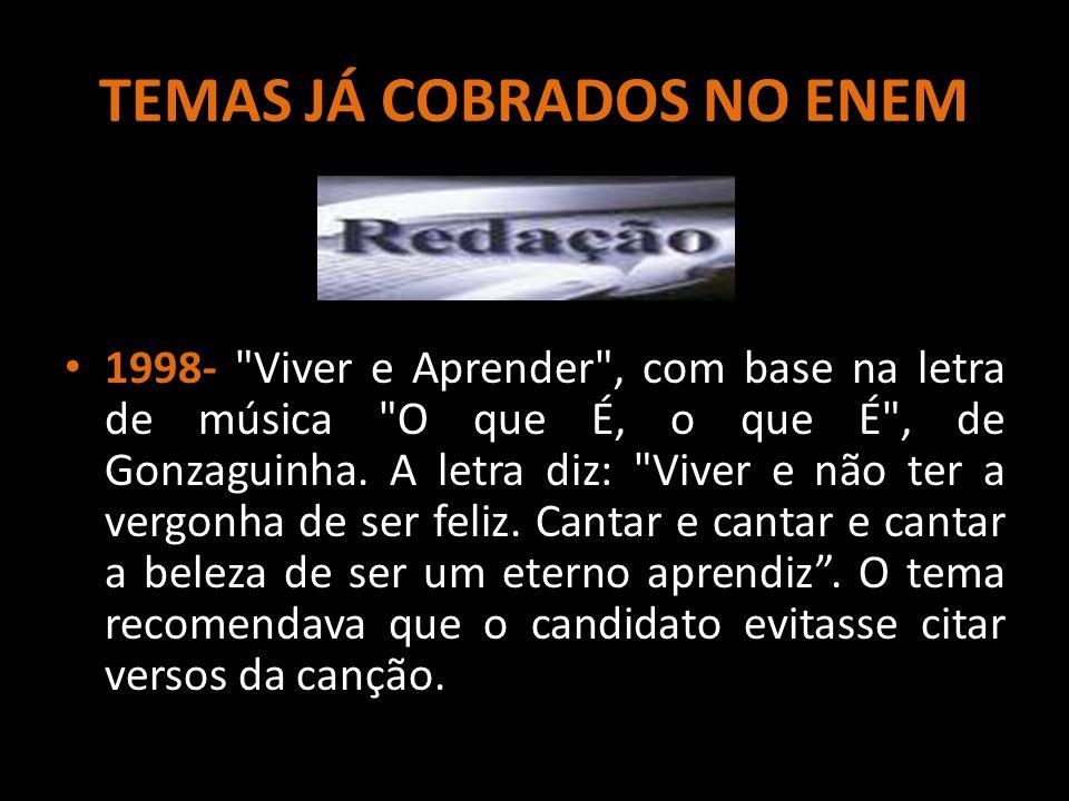TEMAS JÁ COBRADOS NO ENEM 1998-