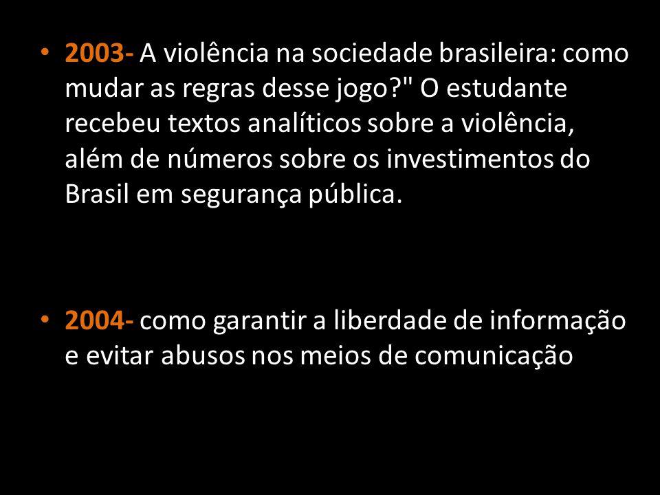 2003- A violência na sociedade brasileira: como mudar as regras desse jogo?