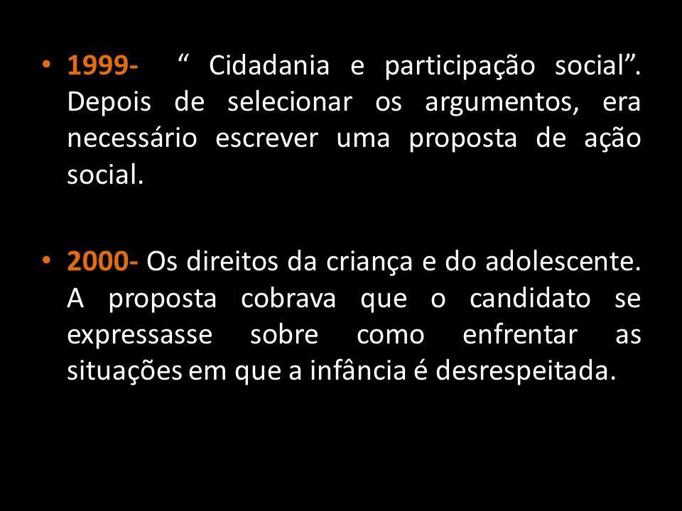 """1999- """" Cidadania e participação social"""". Depois de selecionar os argumentos, era necessário escrever uma proposta de ação social. 2000- Os direitos d"""