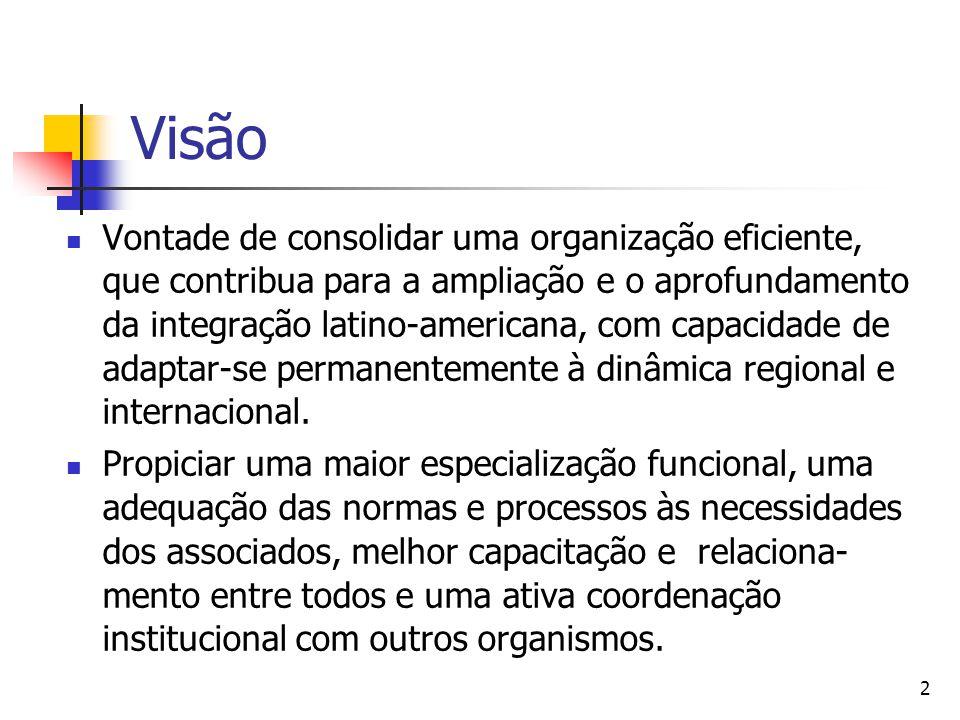 2 Visão Vontade de consolidar uma organização eficiente, que contribua para a ampliação e o aprofundamento da integração latino-americana, com capacid