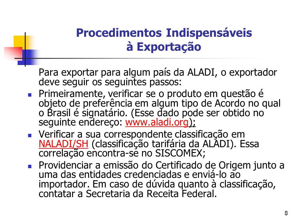 8 Procedimentos Indispensáveis à Exportação Para exportar para algum país da ALADI, o exportador deve seguir os seguintes passos: Primeiramente, verif