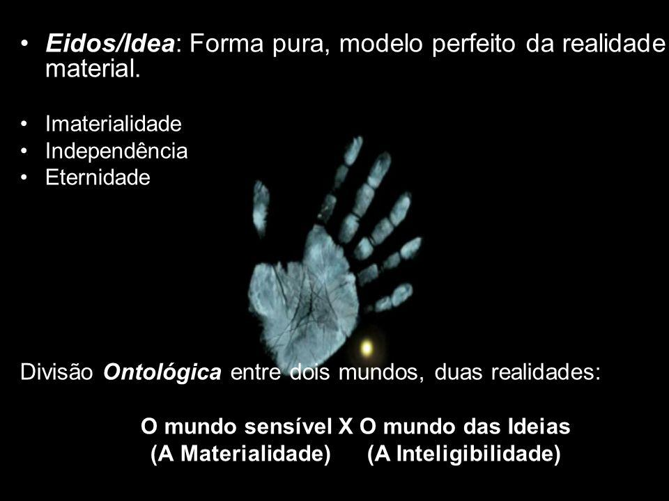 Eidos/Idea: Forma pura, modelo perfeito da realidade material. Imaterialidade Independência Eternidade Divisão Ontológica entre dois mundos, duas real