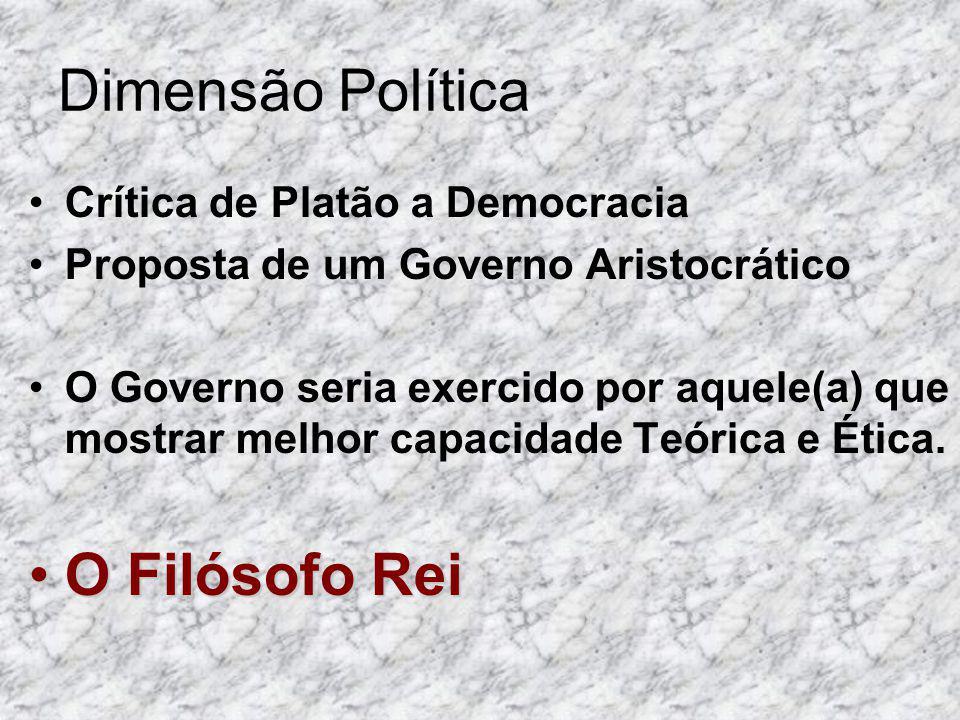 Dimensão Política Crítica de Platão a Democracia Proposta de um Governo Aristocrático O Governo seria exercido por aquele(a) que mostrar melhor capaci