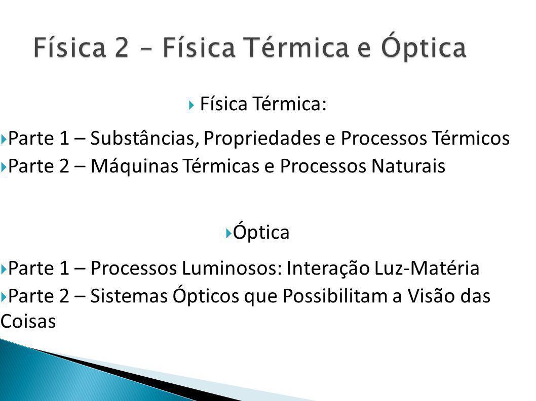  Física Térmica:  Parte 1 – Substâncias, Propriedades e Processos Térmicos  Parte 2 – Máquinas Térmicas e Processos Naturais  Óptica  Parte 1 – Processos Luminosos: Interação Luz-Matéria  Parte 2 – Sistemas Ópticos que Possibilitam a Visão das Coisas