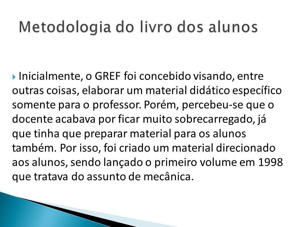  Inicialmente, o GREF foi concebido visando, entre outras coisas, elaborar um material didático específico somente para o professor. Porém, percebeu-