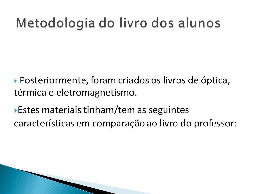  Posteriormente, foram criados os livros de óptica, térmica e eletromagnetismo.