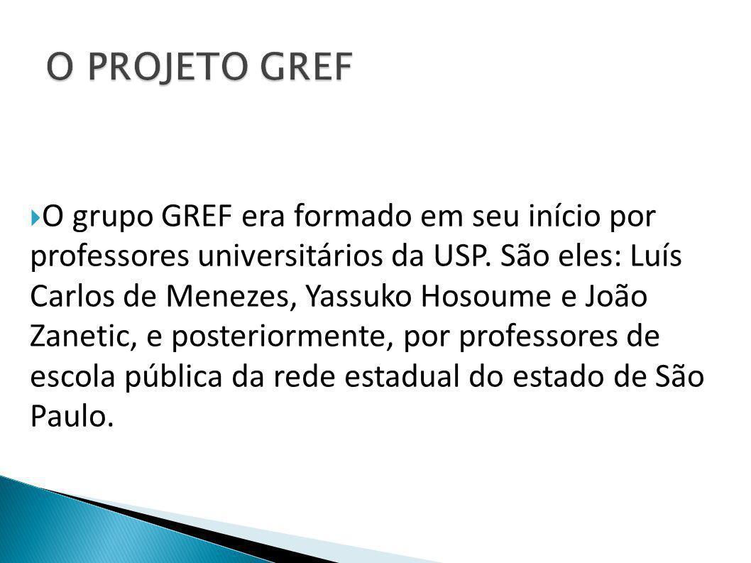  O grupo GREF era formado em seu início por professores universitários da USP. São eles: Luís Carlos de Menezes, Yassuko Hosoume e João Zanetic, e po