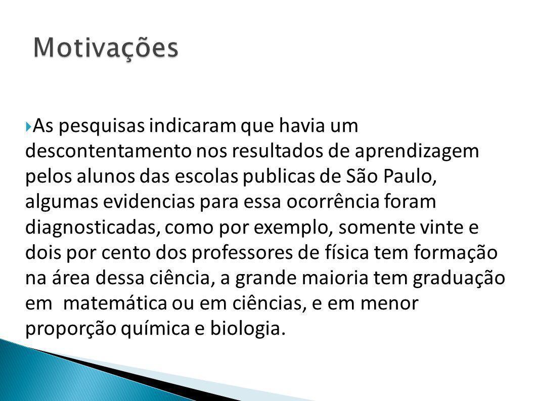  As pesquisas indicaram que havia um descontentamento nos resultados de aprendizagem pelos alunos das escolas publicas de São Paulo, algumas evidenci