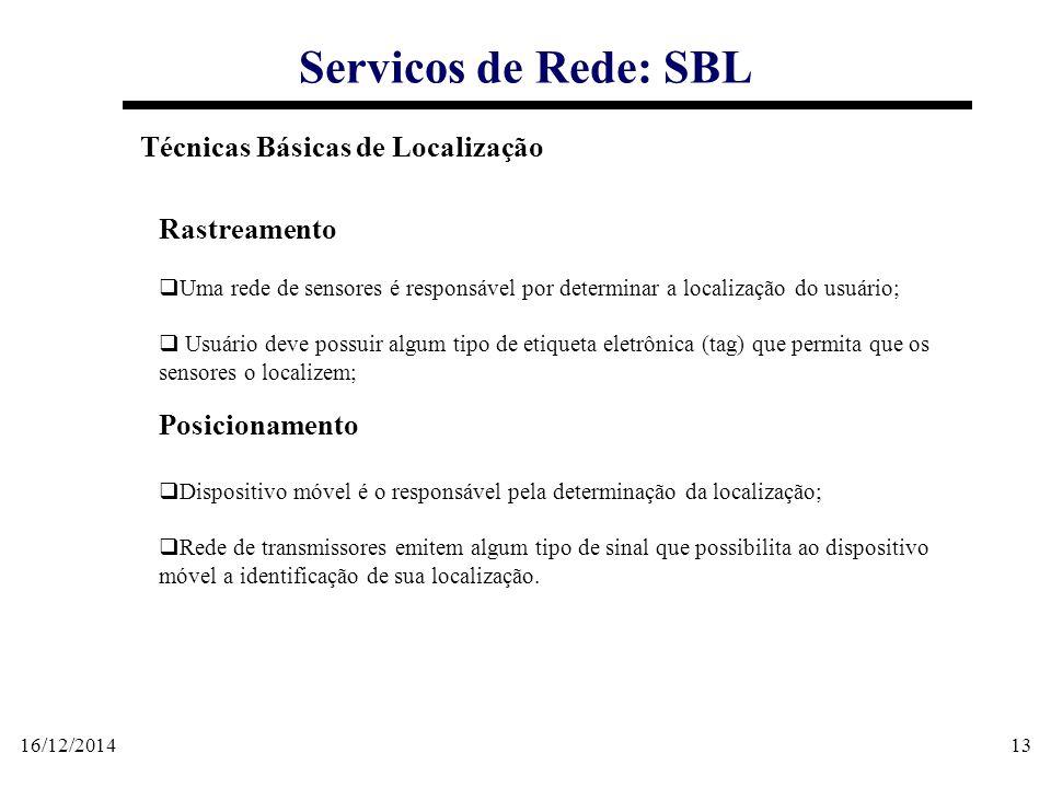 16/12/201413 Servicos de Rede: SBL Técnicas Básicas de Localização Rastreamento  Uma rede de sensores é responsável por determinar a localização do u