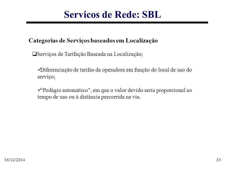 16/12/201433 Servicos de Rede: SBL Categorias de Serviços baseados em Localização  Serviços de Tarifação Baseada na Localização; Diferenciação de tar