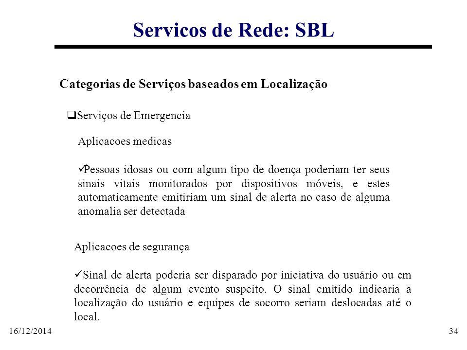 16/12/201434 Servicos de Rede: SBL Categorias de Serviços baseados em Localização  Serviços de Emergencia Aplicacoes medicas Pessoas idosas ou com al