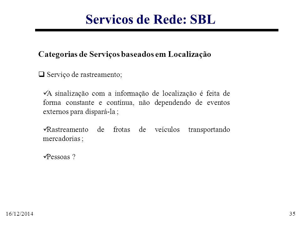 16/12/201435 Servicos de Rede: SBL Categorias de Serviços baseados em Localização  Serviço de rastreamento; A sinalização com a informação de localiz