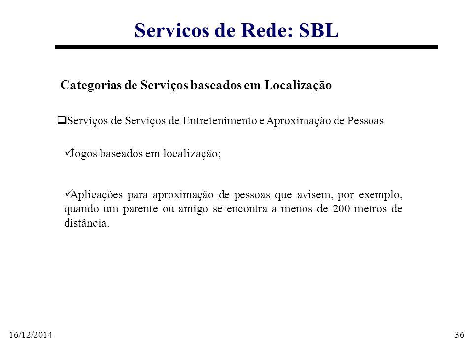 16/12/201436 Servicos de Rede: SBL Categorias de Serviços baseados em Localização  Serviços de Serviços de Entretenimento e Aproximação de Pessoas Jo