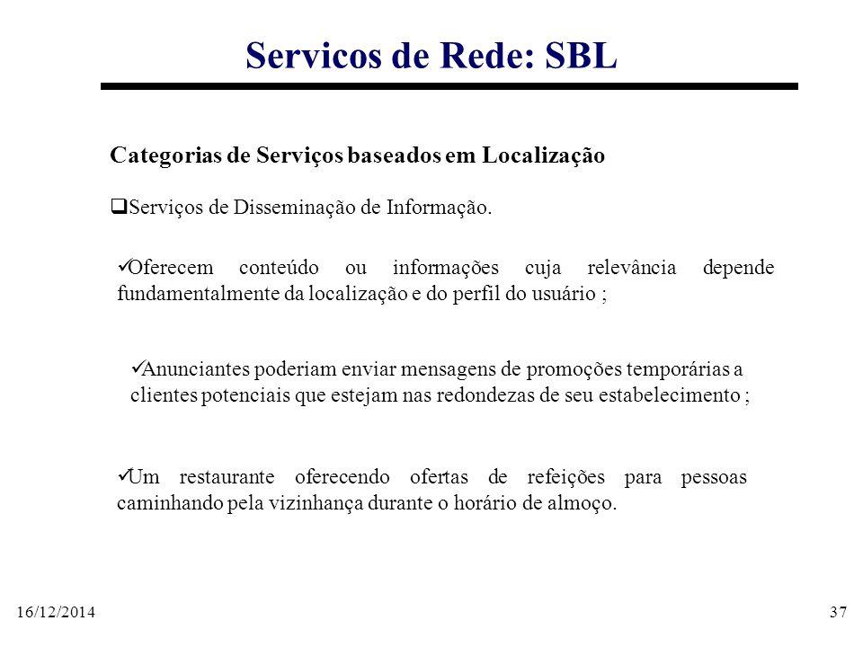 16/12/201437 Servicos de Rede: SBL Categorias de Serviços baseados em Localização  Serviços de Disseminação de Informação. Oferecem conteúdo ou infor