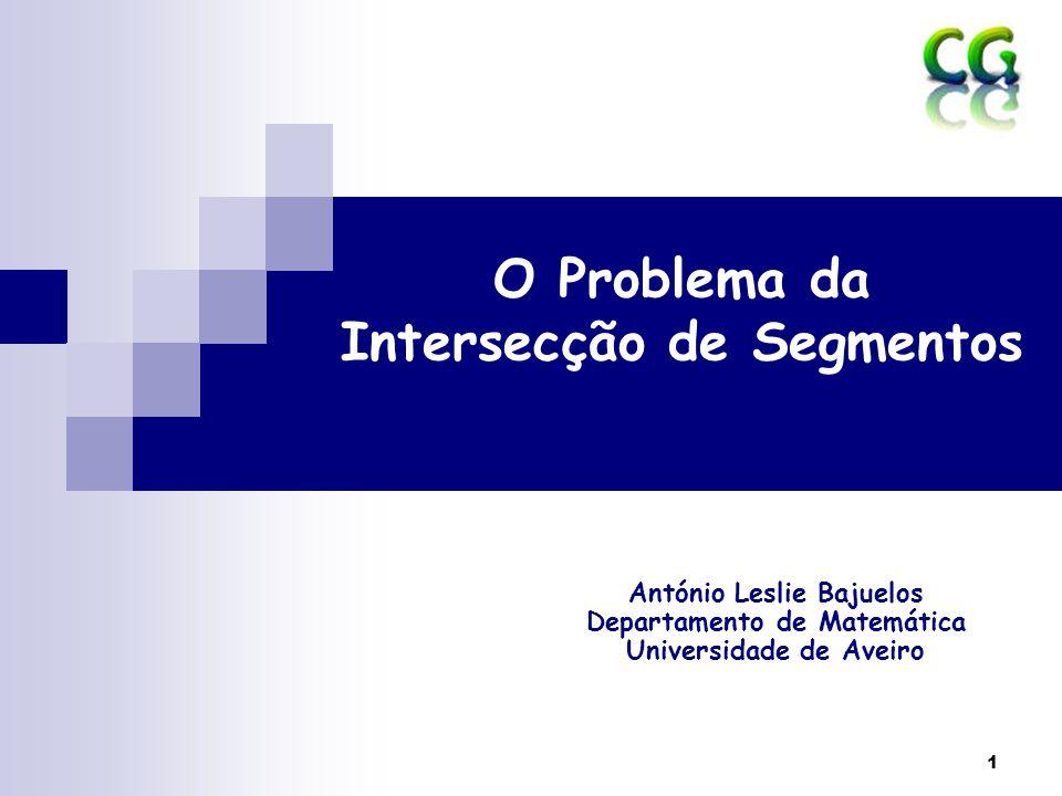 2 Problemas Clássicos da GC Problemas de Intersecção (intersection problems)  Um dos problemas mais básicos em geometria computacional é o de computar intersecção.
