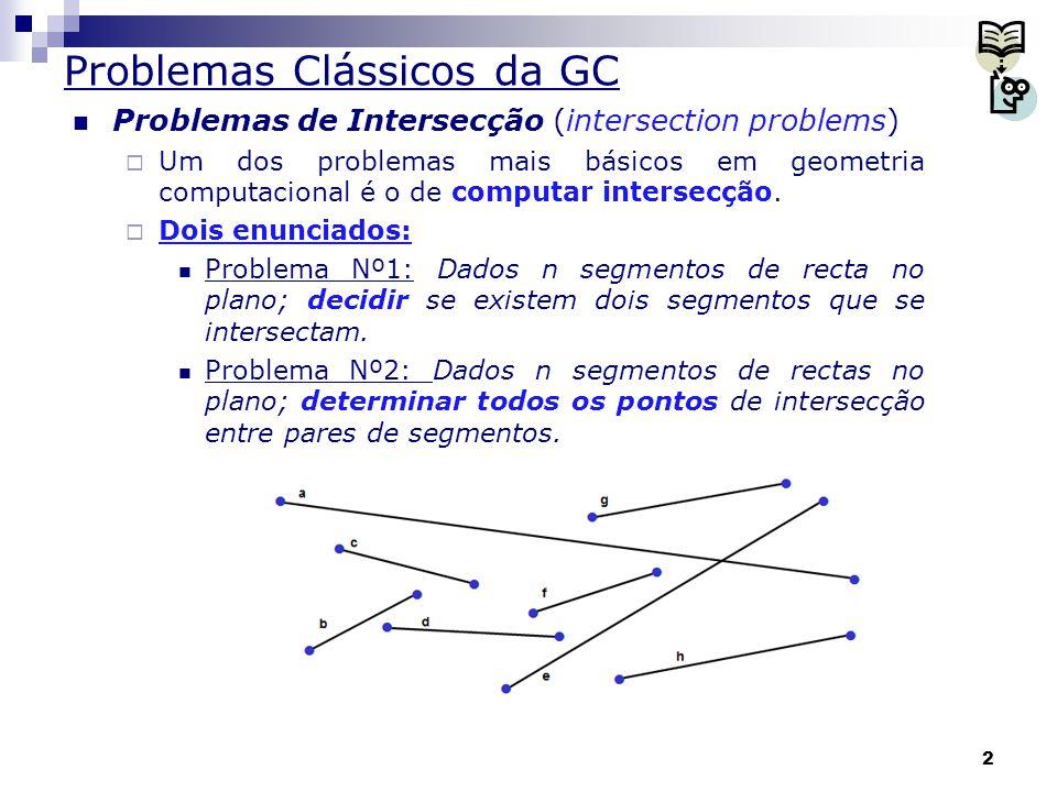 13 Intersecção de Segmentos Algoritmo do tipo linha de varrimento Ideias gerais:  Na Figura a seguir vemos que s 1 > r s 3, s 1 > t s 2, s 2 > t s 3, s 1 > t s 3, s 2 > u s 3 e s 4 é incomparável com os demais segmentos  o x-intervalo de s 4 é disjunto dos x-intervalos dos demais segmentos