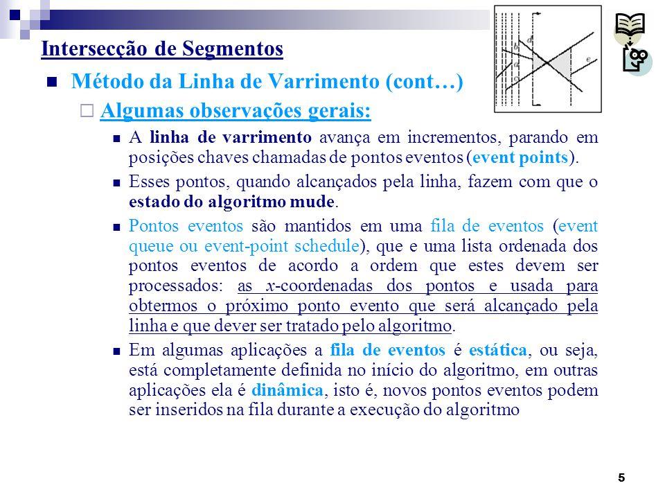6 Intersecção de Segmentos Método da Linha de Varrimento (cont…)  Algumas observações gerais: Um algoritmo por linha-de-varrimento passa por transições em cada ponto evento.