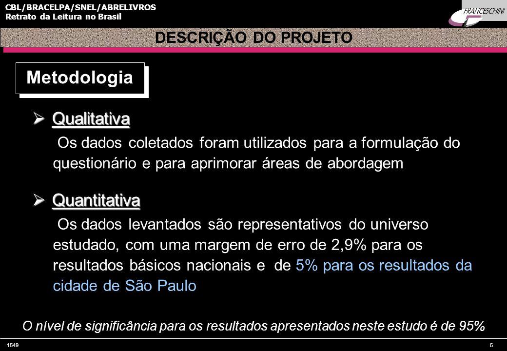 15495 CBL/BRACELPA/SNEL/ABRELIVROS Retrato da Leitura no Brasil DESCRIÇÃO DO PROJETO Metodologia  Qualitativa Os dados coletados foram utilizados para a formulação do questionário e para aprimorar áreas de abordagem O nível de significância para os resultados apresentados neste estudo é de 95%  Quantitativa Os dados levantados são representativos do universo estudado, com uma margem de erro de 2,9% para os resultados básicos nacionais e de 5% para os resultados da cidade de São Paulo