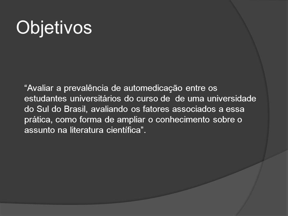 Objetivos Avaliar a prevalência de automedicação entre os estudantes universitários do curso de de uma universidade do Sul do Brasil, avaliando os fatores associados a essa prática, como forma de ampliar o conhecimento sobre o assunto na literatura científica .
