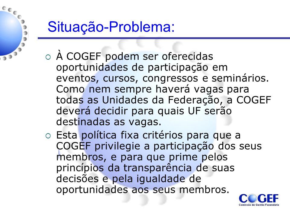 Situação-Problema:  À COGEF podem ser oferecidas oportunidades de participação em eventos, cursos, congressos e seminários. Como nem sempre haverá va