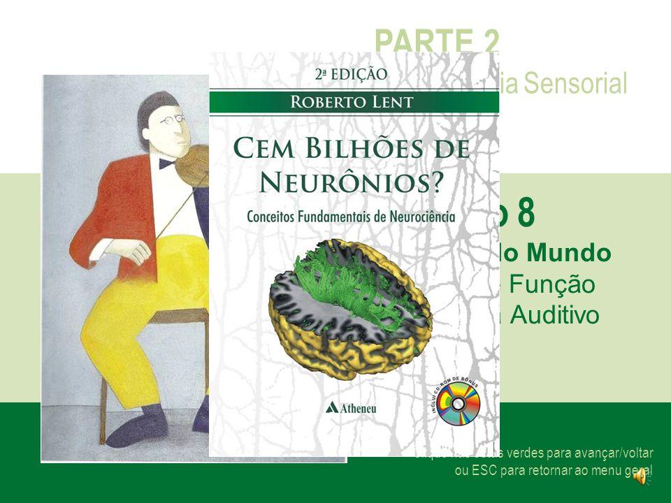 Clique nas setas verdes para avançar/voltar ou ESC para retornar ao menu geral PARTE 2 Neurociência Sensorial Capítulo 8 Os Sons do Mundo Estrutura e Função do Sistema Auditivo
