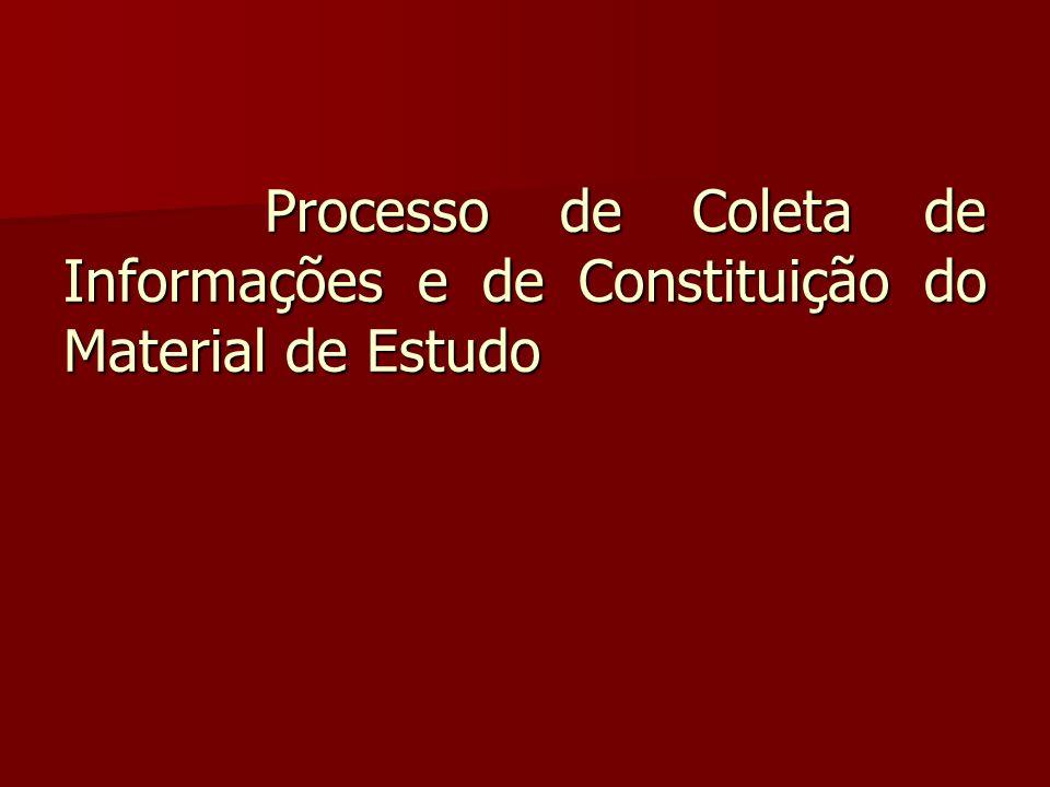 Processo de Coleta de Informações e de Constituição do Material de Estudo Processo de Coleta de Informações e de Constituição do Material de Estudo