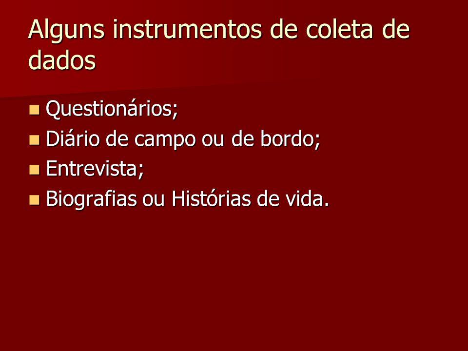 Alguns instrumentos de coleta de dados Questionários; Questionários; Diário de campo ou de bordo; Diário de campo ou de bordo; Entrevista; Entrevista;