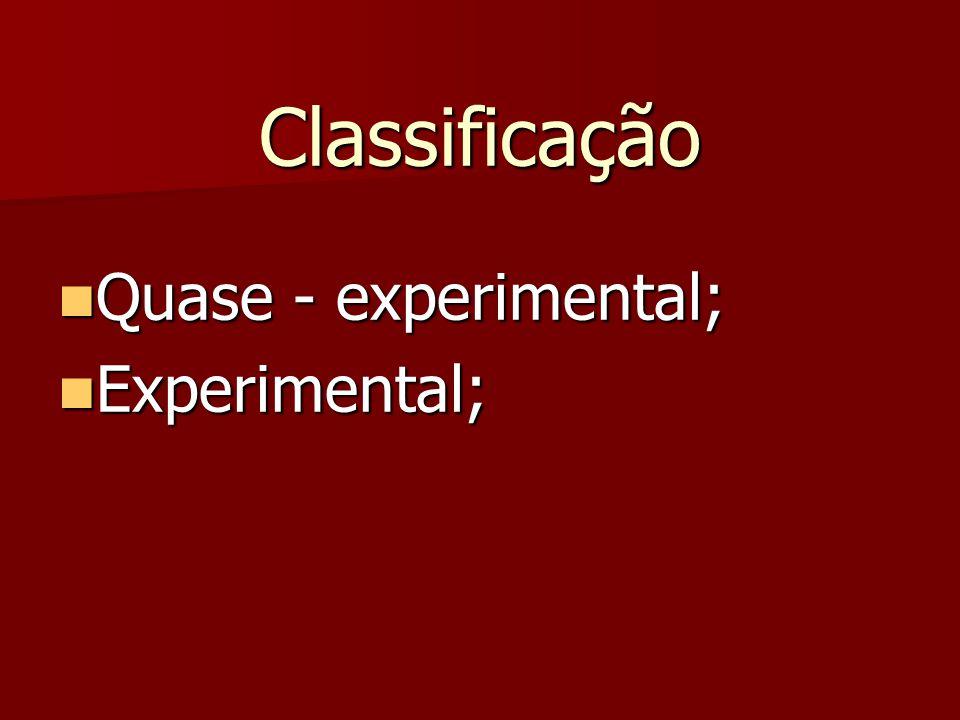 Classificação Quase - experimental; Quase - experimental; Experimental; Experimental;