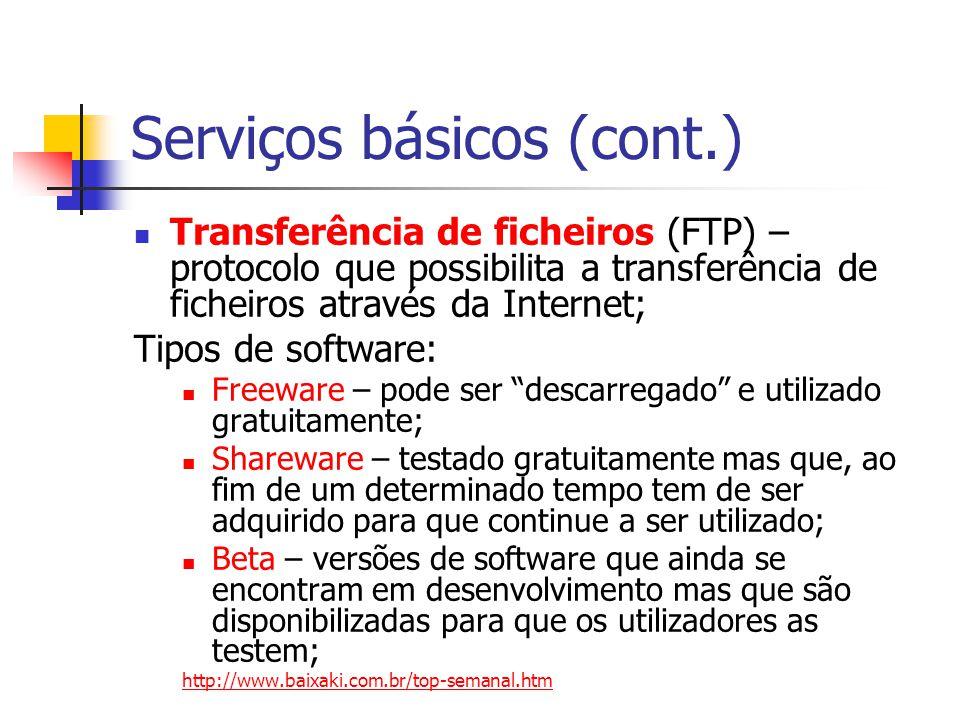 Serviços básicos (cont.) Transferência de ficheiros (FTP) – protocolo que possibilita a transferência de ficheiros através da Internet; Tipos de softw